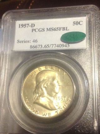 1957 - D Franklin Pcgs Ms65 Fbl Cac Full Bell Lines photo