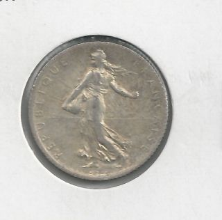 1918 France French One 1 Franc Wwi Era Sower Silver Coin photo