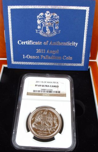 2011 Isle Of Man Palladium 1 Oz Dollar Pf69 Ultra Cameo Ngc Only 1000 Minted photo
