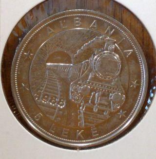 1988 Albania 5 Leke Almost Uncirculated Coin,  Km 61 photo