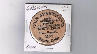Alaska Wooden Token - Spenard - Coin Apartments 1969 Black photo