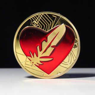 1 Oz Red Heart Feather Love Finished In 24k Gold Coloried Coin photo