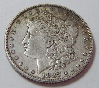 Antique 1887 Morgan Silver Dollar Coin 90 photo