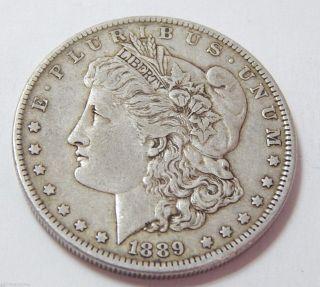 Antique 1889 Morgan Silver Dollar Coin 90 photo