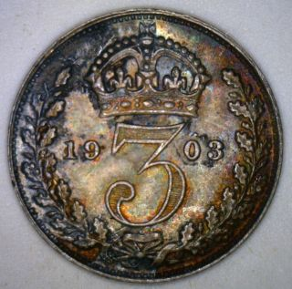 1903 Silver 3 Pence Great Britain Uk English Coin Xf photo