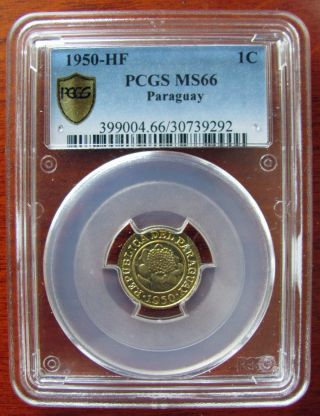 1950 - Hf Paraguay Reform Coinage 1 Centimo Pcgs Ms66 photo
