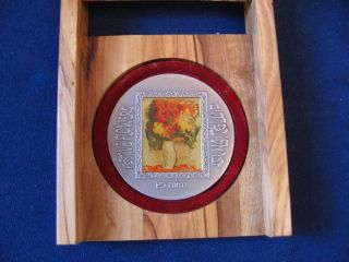 Israel 1988 Flowers By Mane Katz State Medal 62g 50mm Pure Silver,  Wood Box, photo