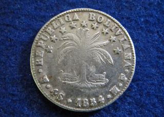 1854 Pts Mf Bolivia Silver 4 Soles - Circ - photo