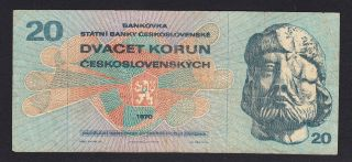 Czechoslovakia 20 Korun 1970 F - Vf P.  92,  Banknote,  Circulated photo