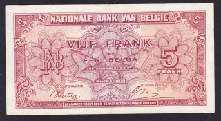 Belgium 5 Francs 1943 Vf P.  121,  Banknote,  Circulated photo