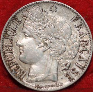 1849 France Silver 1 Franc Coin photo