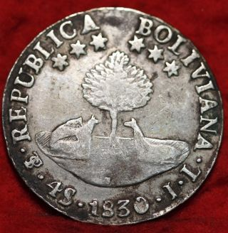 1830jl Bolivia Silver 4 Sols Foreign Coin S/h photo