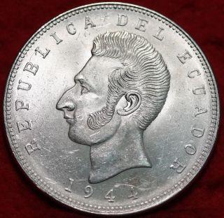 Uncirculated 1944 Ecuador 5 Sucres Silver Foreign Coin S/h photo