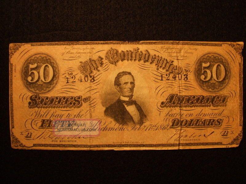 $50 Dollars 1864 Confederate Currency Richmond Va T - 66 Csa Davis Bill Note Paper Money: US photo