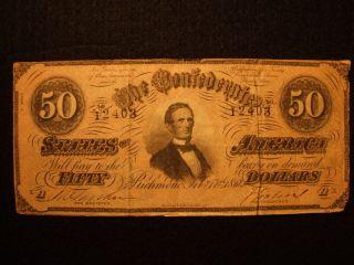 $50 Dollars 1864 Confederate Currency Richmond Va T - 66 Csa Davis Bill Note photo