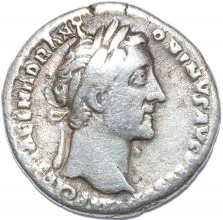 Authentic Emperor Antoninus Pius,  Ar Silver Denarius - Rev.  Pax - C74 photo