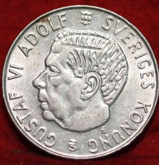 1957 Sweden Silver 1 Krona Foreign Coin S/h photo