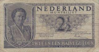 1949 Netherlands 2.  5 Gulden Banknote photo