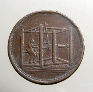 1812 Copper Penny_large Trade Token_box Weaving Loom_barnsley Yorkshire photo