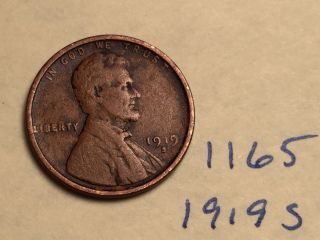 1919 S Lincoln Cent Fine Detail Great Coin (1165) Wheat Back Penny photo