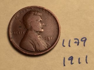 1911 1c Rb Lincoln Cent (1179) Very Fine photo