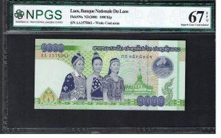Laos Banknote Pick 39a 2008 1000 Kip Npgs Gem Uncirculated 67 Epq Unc (4) photo