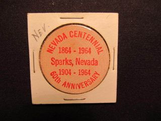 1964 Sparks,  Nevada Wooden Nickel Token - Nevada 100th & Sparks Wood Coin Buf Red photo