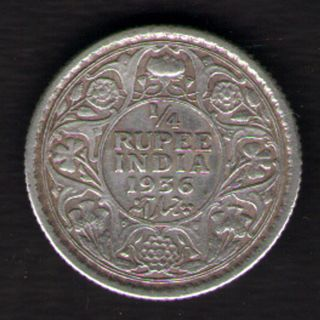 British India - 1936 - George V 1/4 Rupee Silver Coin Ex - Rare Date photo