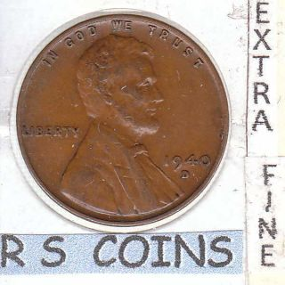 1940d Extra Fine Plus Lincoln Cent Very For This Tough Date 1730 photo