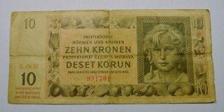 1942 Bohemia 10 Kronen German Occupation Banknote. . .  T012512 photo