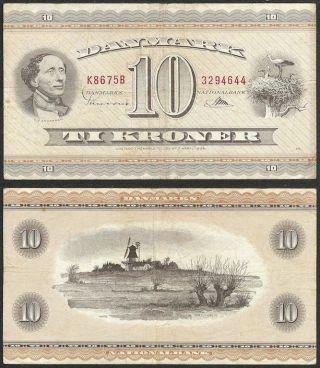 Denmark - 10 Kroner (19) 67 P 10n Europe Banknote photo