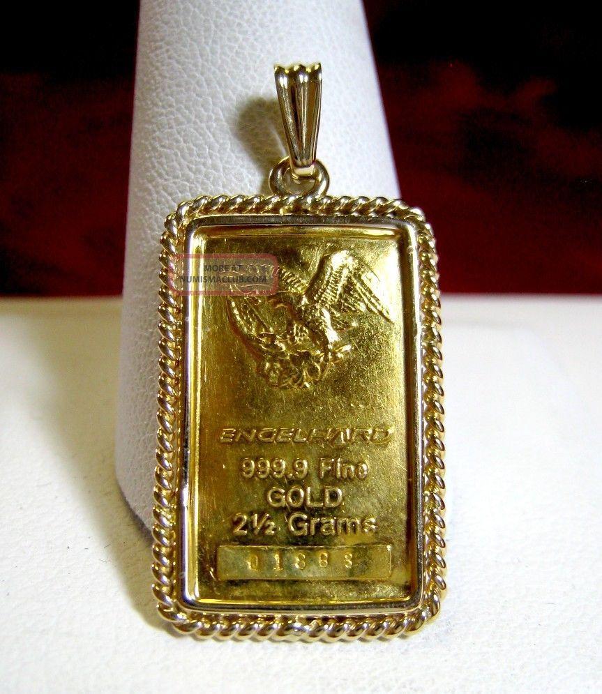 9 Fine Gold Engelhard Bar 2 5 Grams Ingot Pendant In 14k Frame Bezel