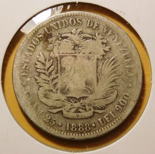 Venezuela 1888 5 Bolivares Silver Dollar Size Coin photo