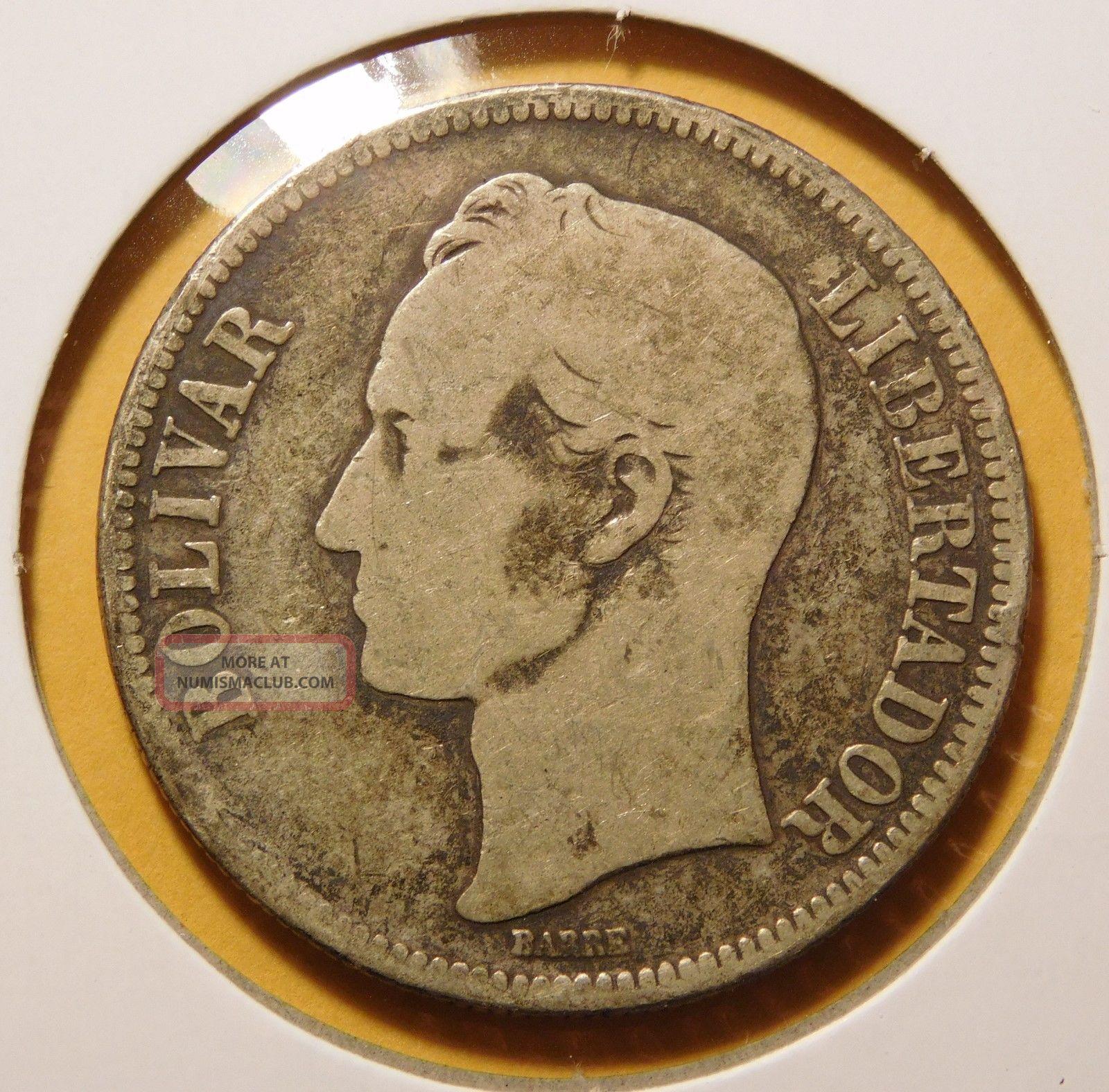 Venezuela 1888 5 Bolivares Silver Dollar Size Coin