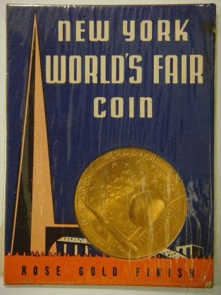 York World ' S Fair Coin,  Communications Building In Holder photo