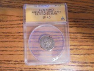 Ancient Roman Republican Silver Denarius Coin Of Caius Vibius Varus - 42 Bc photo