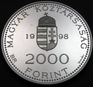 Hungary 2000 Forint 1998 Proof - Silver - Integration Into The Eu - 606 猫 photo