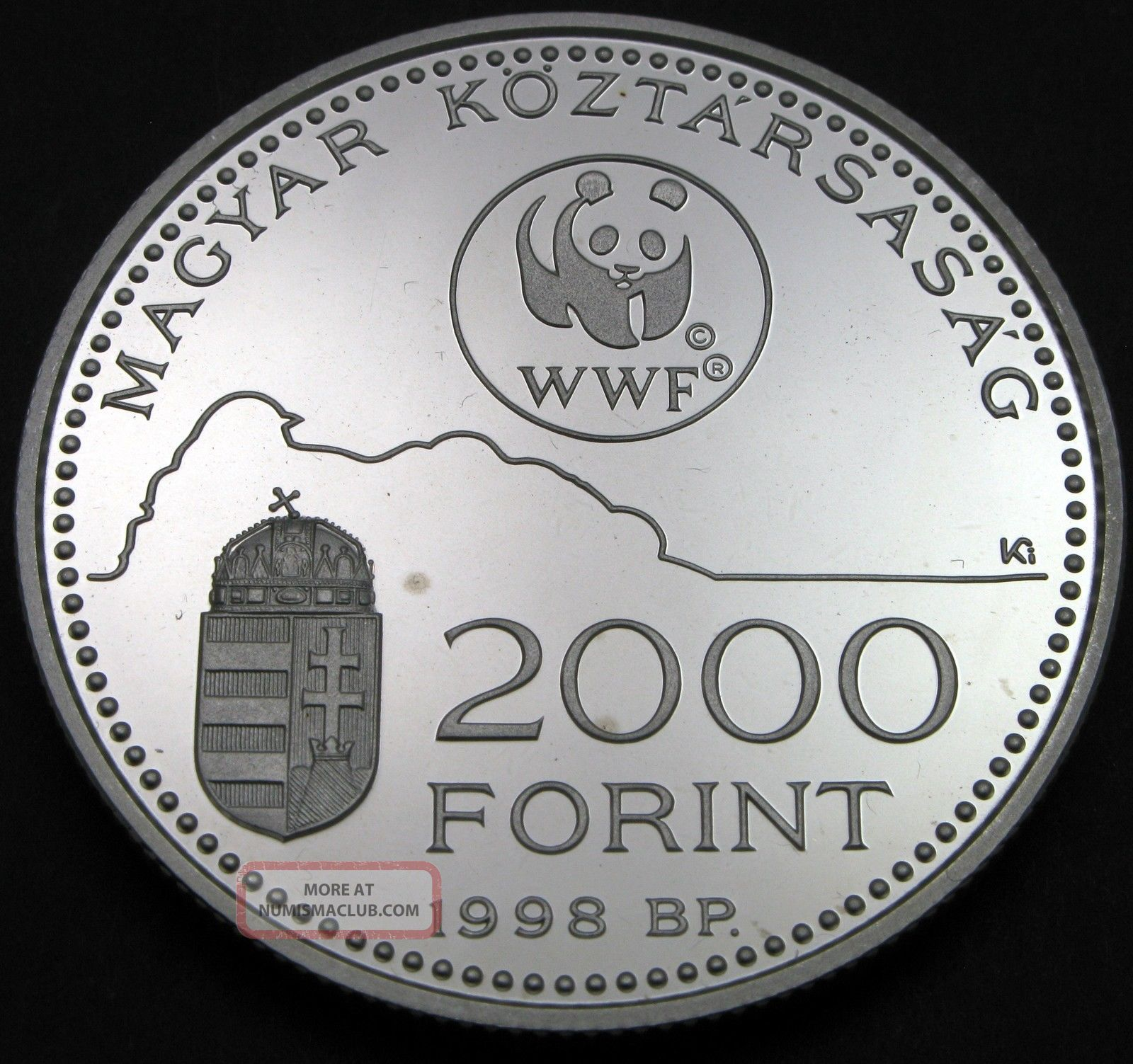 Hungary 2000 Forint 1998 Proof - Silver - World Wildlife Fund - 607 猫 Europe photo
