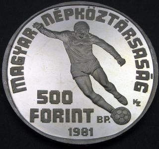 Hungary 500 Forint 1981 Proof - Silver - World Football Championship - 601 猫 photo