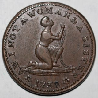 Us.  Hard Times Token.  Anti - Slavery.