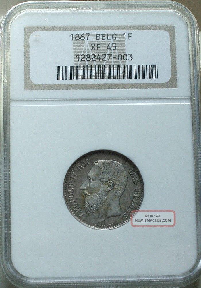 Belgium 1867 1 Franc Ngc Xf45 Europe photo