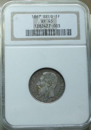 Belgium 1867 1 Franc Ngc Xf45 photo