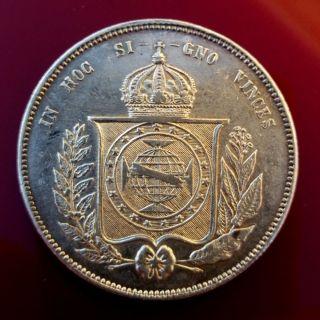 Brasil - 2000 Reis 1855 Silver Crown - Exellent Grad Vf photo