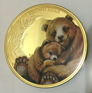 1oz Mother ' S Love - Brown Bear Colourized Finished In 24k Gold Clad Coin photo
