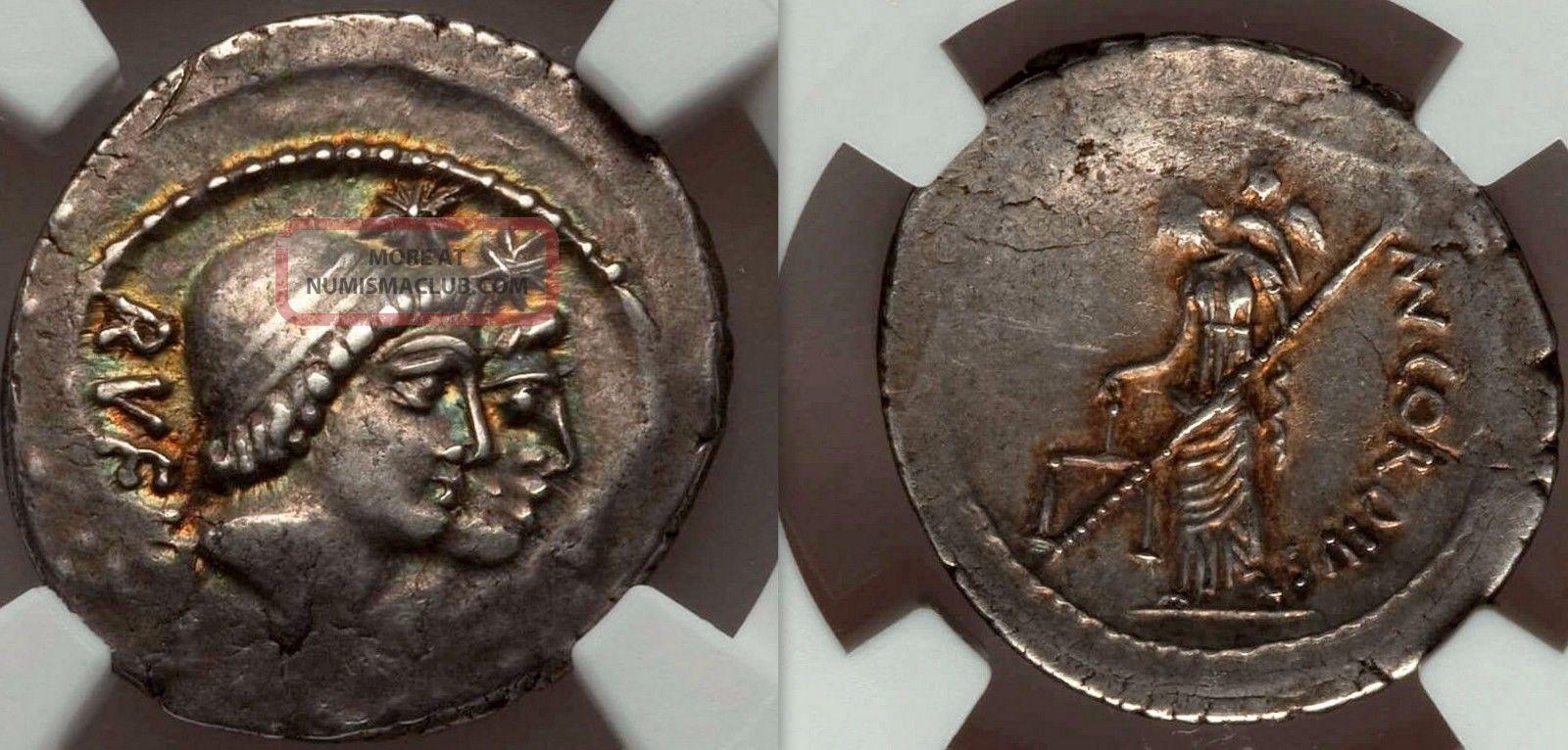 Ngc Xf.  Gold Iridescent Patina.  Discuri And Venus Very Rare Roman Coin. Coins: Ancient photo