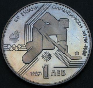 Bulgaria 1 Lev 1987 Proof - Xv.  Olympics - Hockey - 766 猫 photo
