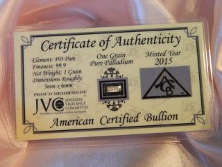 One Grain Of Pure Palladium With Certificate Of Authenticity photo