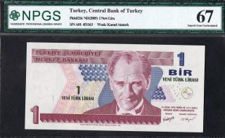 Turkey Banknote Pick 216 2005 1 Lira Npgs Gem Uncirculated 67 Epq Unc photo