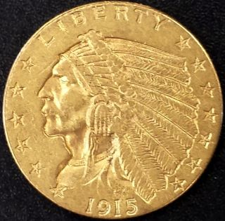 1915 Indian Head $2.  50 Gold Piece (quarter Eagle,  2 1/2) photo