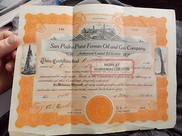 1921 Stock Certificate Los Angeles Area,  San Pedro Point Fermon Oil & Gas Co Stocks & Bonds, Scripophily photo